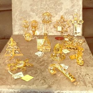 Gold and Crystal Christmas Ornaments and Decor